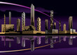 Night cityscape with skyline - vector illustration