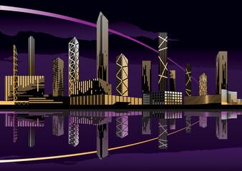 Night cityscape with skyline - vector illustration