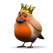 3d Robin wearing a royal golden crown