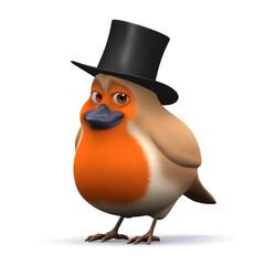 3d Robin in top hat