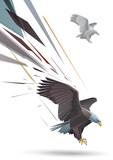 Eagle with spread wings and talons out  stylized polygonal model poster