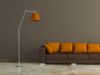 Wohndesign - braunes Ledersofa