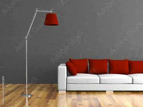 wohndesign weisses sofa vor grauer wand stockfotos und lizenzfreie bilder auf. Black Bedroom Furniture Sets. Home Design Ideas