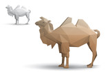 Camel stylized triangle polygonal model. Eps10 vector poster