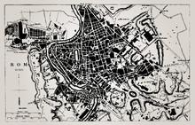 Historische kaart van Rome, Italië.