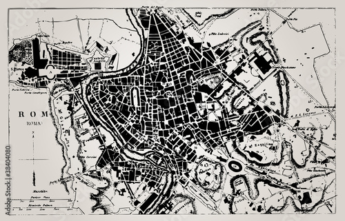 Historical map of Rome, Italy. - 38404080