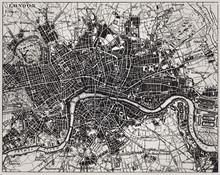 Historische Karte von London, England.