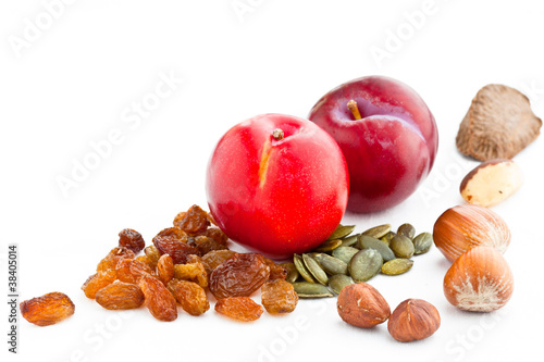 Plums nuts seeds and sultanas