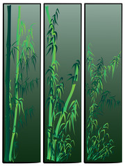 Three vertical banners in asian themes in green tone.