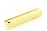 Wooden pencil case on white background