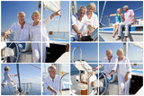 Montage of Senior People Sailing on Luxury Yacht
