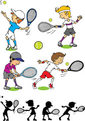 Boy character playing tennis