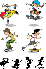 Set of boy skateboard character