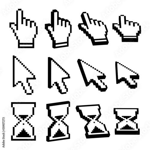 Symbole, Software, Icon, Hand, Pfeil, Sanduhr, Uhr, Zeiger, Tool