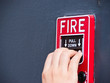 Hand on fire alarm box - 38407687
