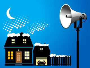 Megaphone and house, winter background, vector