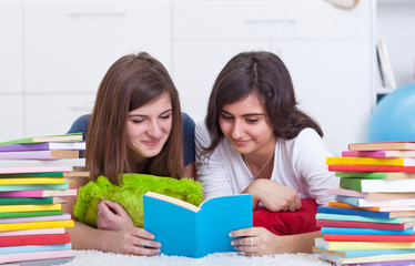 Teenager girls study together