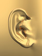 Golden human ear. 3d