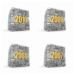 New year 2010, 2009, 2008, 2007.