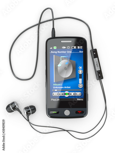 Mobile phone with headphones. 3d