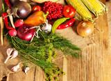 Preparing vegetable on wooden boards.