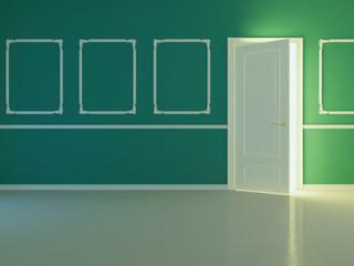 Empty new classic room with opened door.