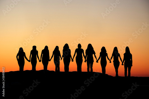 Woman friendship silhouette. - 38410652