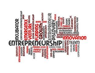 Entrepreneurship - red word cloud