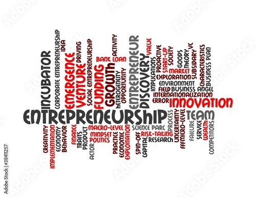 Entrepreneurship - red word cloud