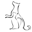 Cat and dog waiting to be fed logo