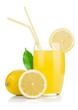 Lemon juice glass and fresh lemons