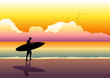 Illustration of a surfer walking at the beach during sunset