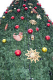 Synthetic Christmas tree decorated toys poster