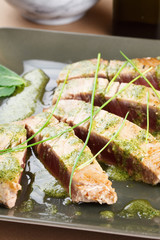 Tuna steak with mint sauce