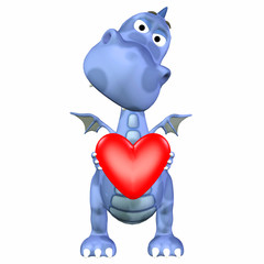 Blue Dragon Holding a Heart
