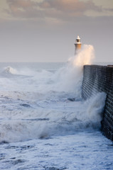 Tynemouth north pier and crashing waves