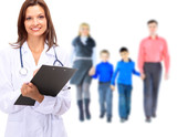 Young attractive family doctor isolated over white