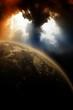 Planet in dark sky