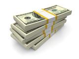 Dollar bills stacks