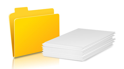 gelber Ordner mit Papierstapel