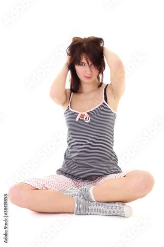 sexy girl with shaggy hair in pajamas