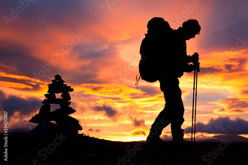 Hiker on the Way at Sunrise