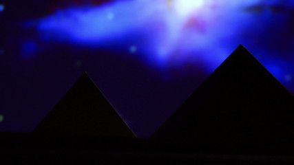 Egyptian pyramid, blue night