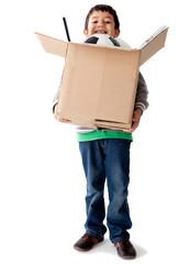 Boy holding a box