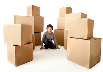 Boy with cardboard boxes