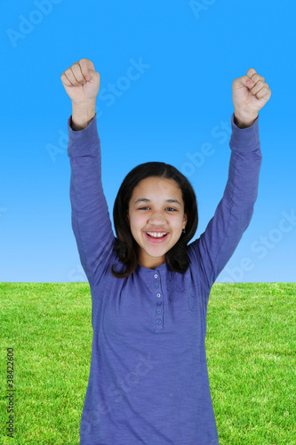 Girl Celebrating Outside