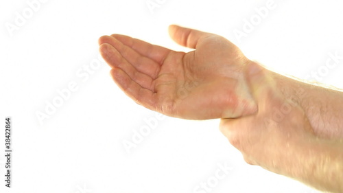 Reducing Pain with Self Massage of Wrist on White Background