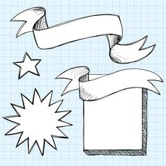 Scroll Banner Frames Sketchy Doodles Vector
