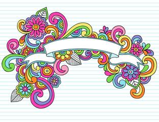 Banner Ribbon Frame Doodles Vector