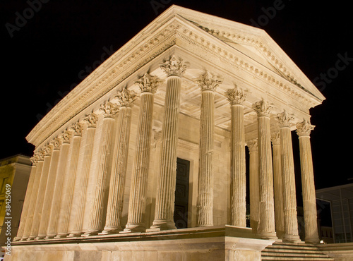 The Maison Carree, Roman temple in Nimes, southern of France